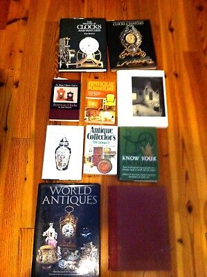 Collection Of 10 Reference Books On Antique Furniture, Clocks, Fakes, Knowledge
