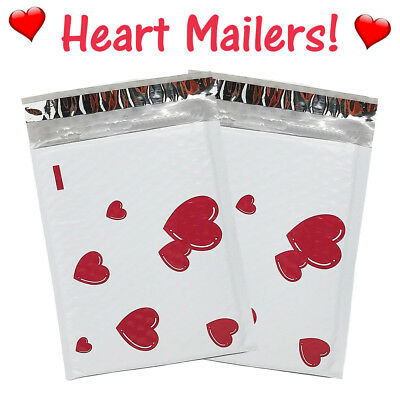 6x10 Heart Poly Bubble Mailers, Designer Padded Shipping Envelopes 10-100 Pack!