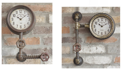 CK Range : Industrial Vintage Style Pipe Wall Clocks : Rustic Metal Steampunk