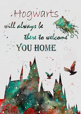 Harry Potter Hogwarts Quote Watercolour Wall Art Poster Print (A1-A5 Sizes)