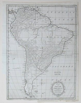Map of South America by T Kitchin Genuine 1777 Brazil Chile Peru Paraguay Fuego