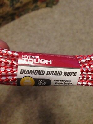 Hyper Tough  1/4 in. x 10 ft. in. Diamond Braid Rope