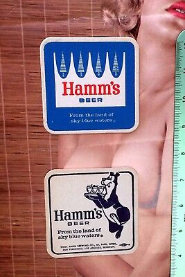 ca 1960 HAMM'S BEER bear & bottle UNUSED Coaster top can sign flat cone label !