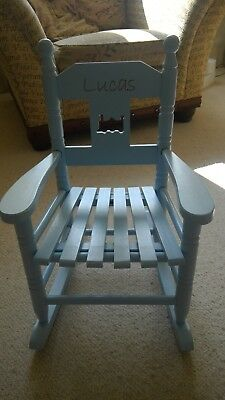 My First Years Personalised 'Lucas' Blue Rocking Chair, Train Detail, VERY CUTE!
