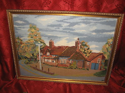 Embroidered  Framed  Picture Landscape Signed DAS
