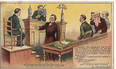 Arbuckle's Ariosa Coffee Trading Card/Advertisement - Lawyers/Courtroom/Judge/NY