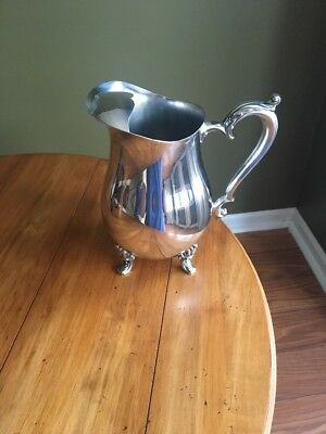 Vintage Oneida USA Silver Footed Water Pitcher Jug With Ice Catcher Dust Bag