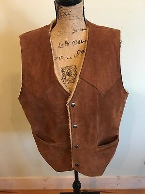 Mens Vintage Bermans Suede Vest With Faux Shearling Lining 42