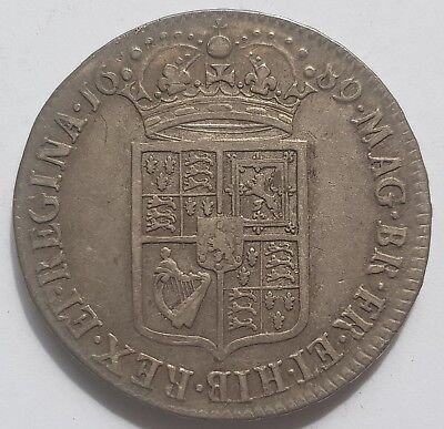 1689 William And Mary Silver Half Crown - Very Rare!