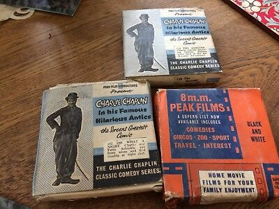 3 x vintage 8mm films (Charlie Chaplin + other)