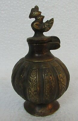 Vintage Old Collectible Handcrafted Unique shape Brass Inkwell Pot