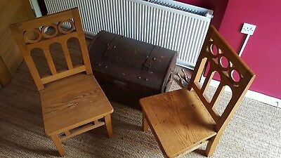 Pair Of Solid Oak Upright Chairs