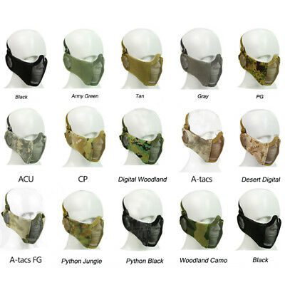 Tactical Half Face Mask Metal Wire Steel Net Mesh Airsoft Paintball Protector