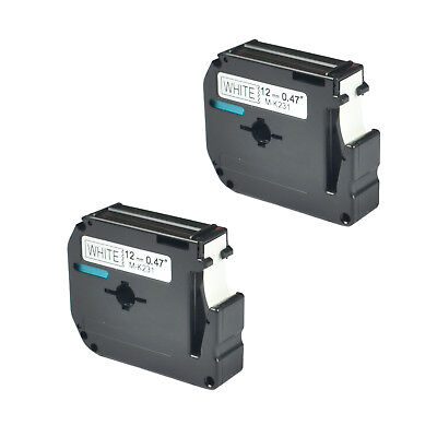 2 PK Black/White Tape Compatible for Brother P-touch Label M-K231 MK231 1/2""