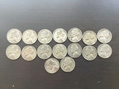 1942,1943, 1944, 1945 (16 Coins) WWII Silver US Nickles P-D-S Mints
