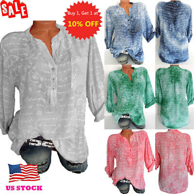 US Womens Boho Loose 3/4 Sleeve Tops Blouse Casual Button V Neck Shirt Tee Plus