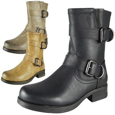 New Womens Ladies Mid Heel Zip Mid Calf Buckle Boots Casual Fashion Shoes Size