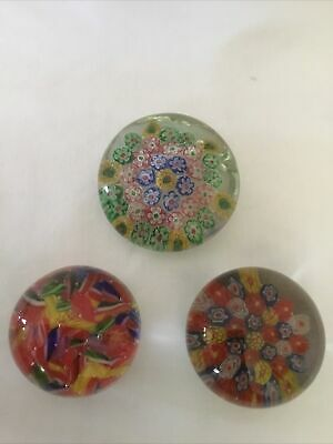 Millefiori Glass Paperweight Pontil Base Hand Blown Chinese Lot Of 3