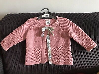 Mamas & Papas Liberty Pink Baby Girls Cardigan 3-6m