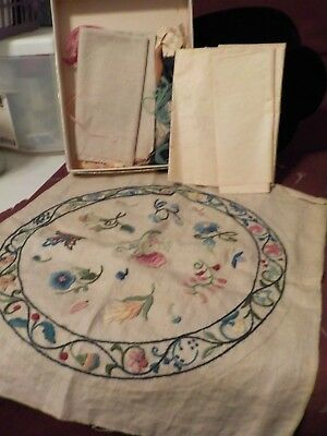 Antique Pillow Top? Hand Embroidery W/ Back And Transfer/ Floss