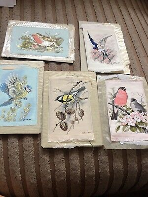 Collection Of 5 Cash's Woven Pictures Bird Artwork