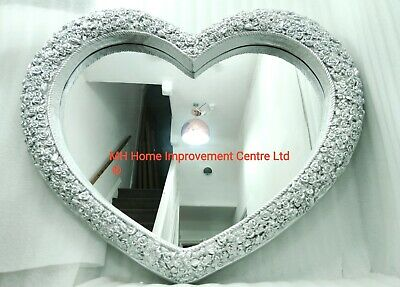 Heart Shaped Mirror Extra Large Antique French Roses Style Silver Wall Hung