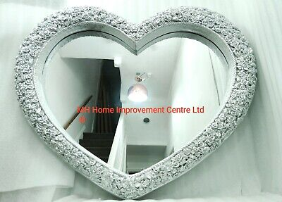 Love Heart Wall Mirror Shabby Chic Large Antique French Rose Silver 110x90cm