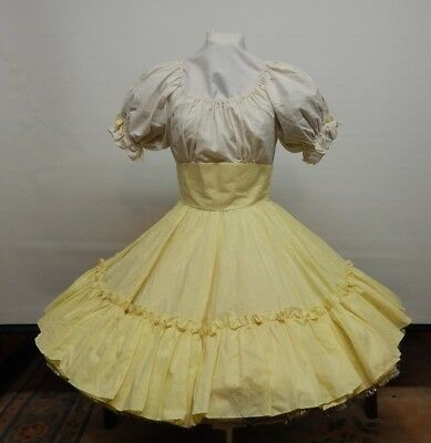 Yellow And White Dotted Swiss Square Dance Dress