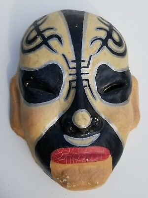 Vintage Chinese Paper Mache Mask Hand Painted. Made in Taiwan The Rep. Of China.
