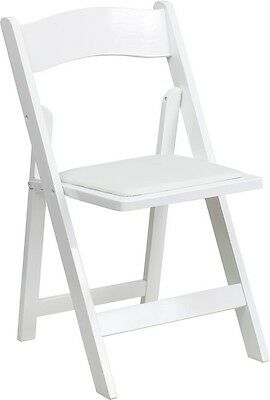 (10 PACK) White Wood Folding Chair with White Vinyl Padded Seat - Wedding Chair