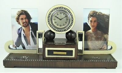 Table clock VERY RARE photo frame antique solid silver, wood and phenolic