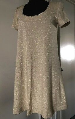 Vintage Womens Gold Holiday Shimmer Rhinestones Dress By Ever Beauty Petite Sz.2