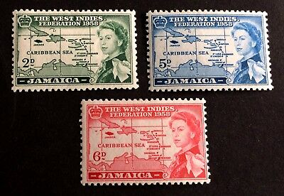 3 top old mint hinged stamps Jamaica 1958