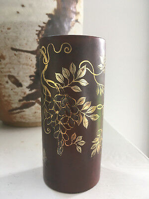 Antique Art Deco Japanese Chinoiserie Hand Painted Lacquered Brush Holder, Vase