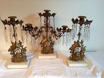 """Antique Girandole 3 piece """"Fox and Beehive"""" Candelabra/Candleholders w/ Prisms"""