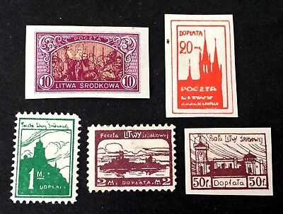 Central Lithuania - 5 interesting unused stamps 1921 - Srodkowa Litwa