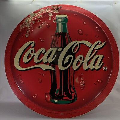 "Coca Cola Round Sign Plastic Paul Flum Ideas 22-1/4""x1/2"" Double Sided 1980-1990"