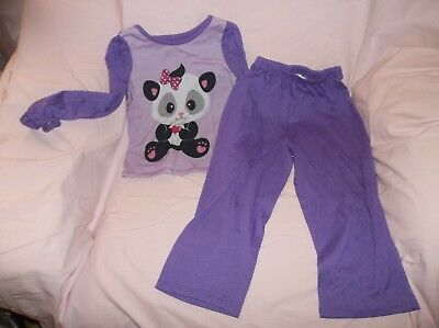 Girls Panda 2 pc pajama set size 5T--GUC--purple, L/S, panda w/heart, 100% polye