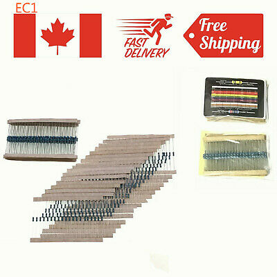 New 600Pcs 30 Values 1/4W Metal Film Resistors Resistance Assortment Kit Set 1%