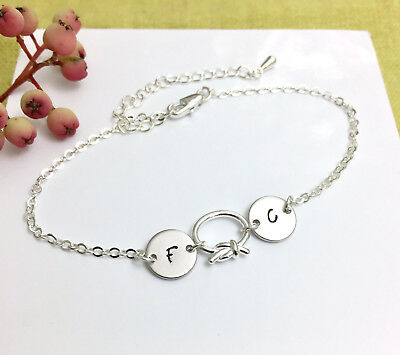 Personalised Silver Bracelet 2 Initials & Sterling Silver Knot Charm Gift