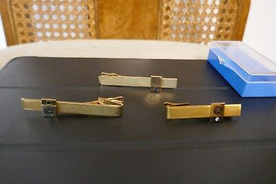GENERAL ELECTRIC GE EMPLOYEES TIE CLIPS  CLASP (3) THREE 10kt GOLD