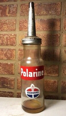 Vintage 1947 Standard Oil Polarine 1 Quart Glass Oil Bottle / Gas Oil / Sign