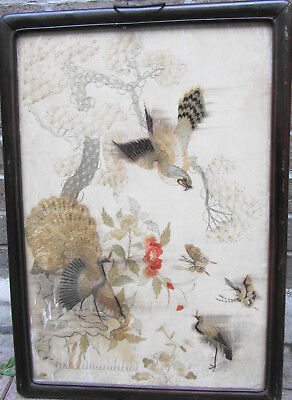Early Ching, rosewood,floral,landscape/ embroidered/ framed,25 ins x18 ins