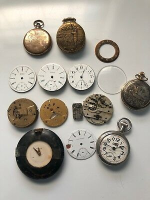 Lot of Vintage Ornate Waltham Elgin Pocket Watch Face Dials Parts