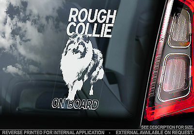 Rough Collie - Car Window Sticker - Sheltie Shetland Sheepdog Dog Sign - TYP1