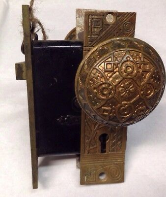 Antique Nashua Lock Co. Cast Bronze Door Knob W/ Key