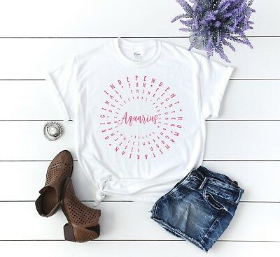 AQUARIUS ASTROLOGY LADIES T-shirt, variety of colors, zodiac sign, birthday  Tee