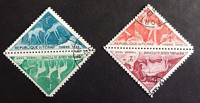 animals: 2 pairs top old triangle stamps  / Tchad