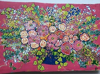 original contemporary painting Vase Of Flowers 15 Inch By 10 Inch