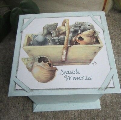 Hallmark Marjolein Bastin Covered Cardboard Trinket Box Seaside Memories  3x3x3""